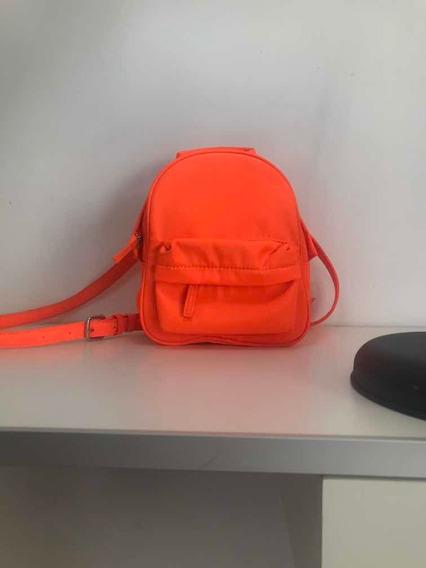 Mochila Mujer Pequeña Forever 21 Naranja Flúo De Moda
