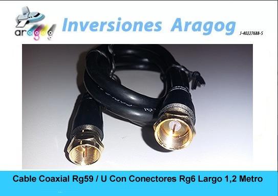 Cable Coaxial Rg59 / U Con Conectores Rg6 Largo 1,2 Metro