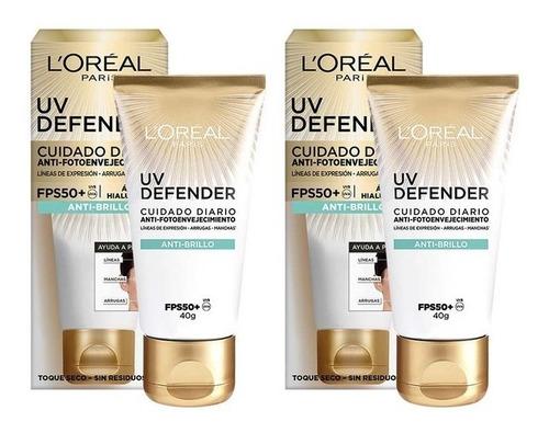 Imagen 1 de 7 de Pack 2 Cremas Facial Protectora Antibrillo Fps50 Uv Defender