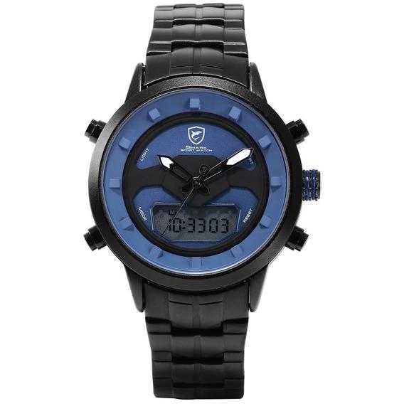 Preto Concha Governo Roda Aço Cinta Quartz Relógio Simples C