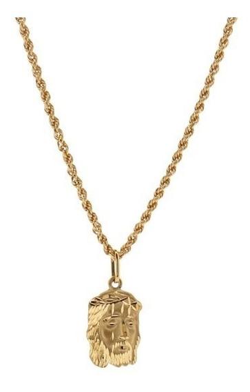 Cordao Corrente Masculino Banhada A Ouro 18k 60cm Ping Jesus