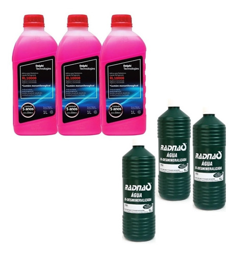 3 Aditivos De Radiador Rl10008 + 3 Aguas Bi-desmineralizada