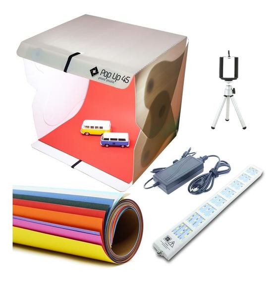 Super Kit P/ Foto C/ Luz Led Fundos Color Pop Up Studio 45cm