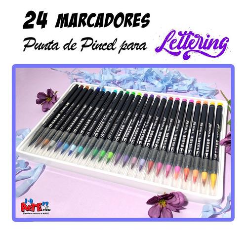 24 Marcadores Punta De Pincel Para Lettering....