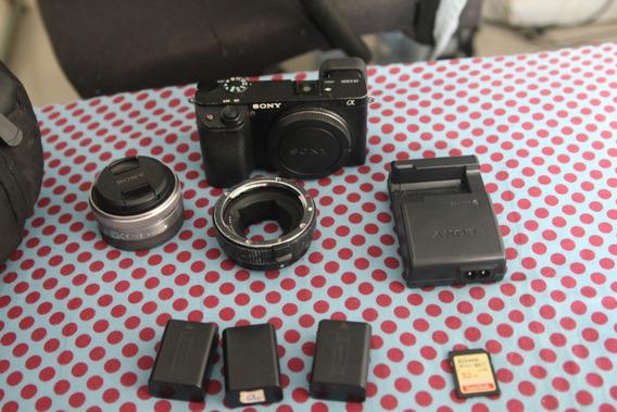 Sony Alpha 6300 + Lente 20mm Sony + 3 Baterias + Cartao 32g