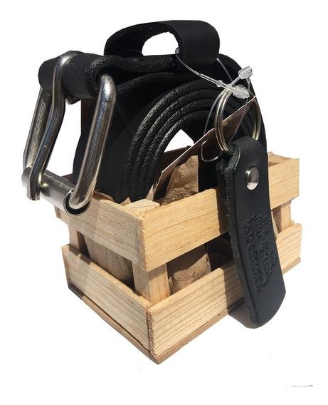 Cinturon De Piel Negro + Llavero + Huacal Old Caborca