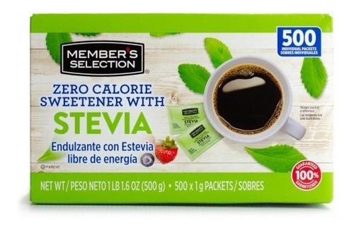 Endulzante Stevia Caja 500 Sobres Members Selection Original