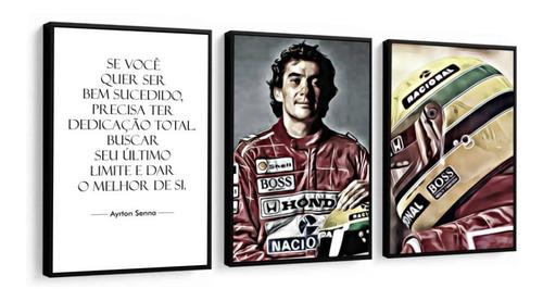 Quadro Decorativo Frases Ayrton Senna Formula1 Capacete