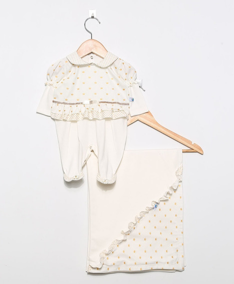 Saída Maternidade Para Bebê Menina Princesa Creme