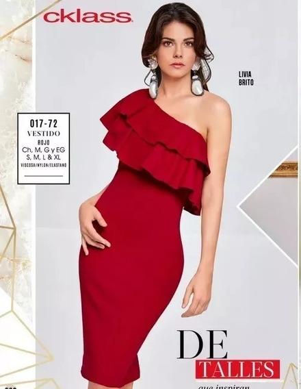 Vestido Cklass Color Rojo Cuello Cruzado A Un Hombro 01772