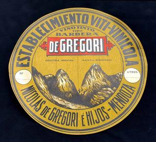 Antigua Etiqueta De Barril De Vino De Gregori. Mza. 22064