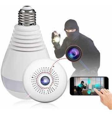 Câmera Espião 360 Lâmpada De Led Espaço Para Cartão