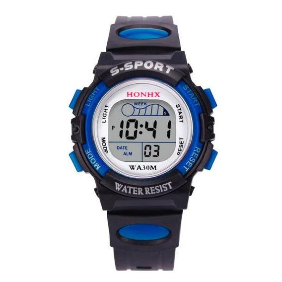 Relógio Infantil Esportivo Digital Azul C/luz Masculino