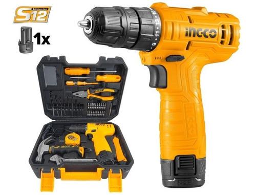 Imagen 1 de 4 de Kit Atornillador Bateria Litio 12v 81 Piezas Ingco Hkthp1081