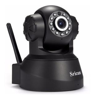 Camara Sricam Sp012 Para Vigilancia Monitoreo Wifi Con Altavoz Infrarrojo Nocturno Uso Interior Negra