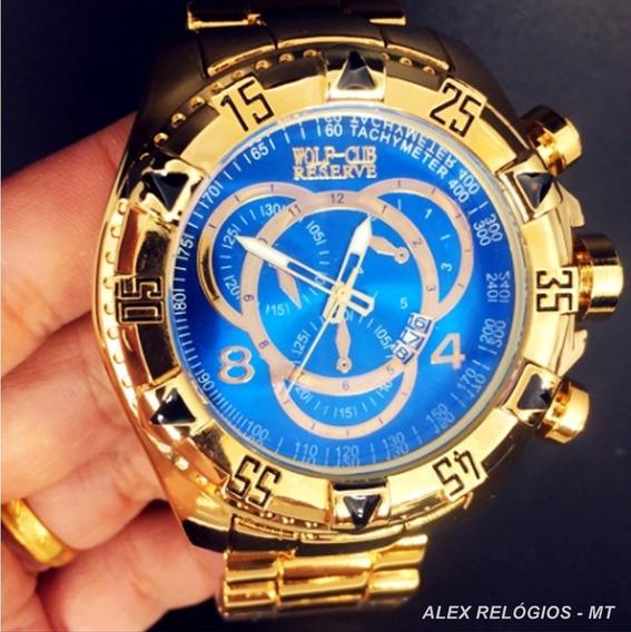 Promoção Relógio Original Luxo Dourado Azul Prt Entr