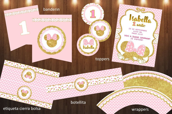 Kit Imprim Editable Minnie Glitter Dorado Y Rosa Rosado