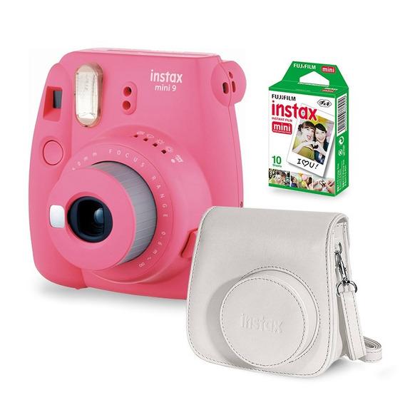 Câmera Instax Mini 9 Flamingo Rosa + Filme + Case Câmera