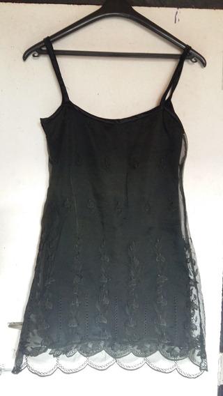 Vestido Negro De Noche, Con Encaje. Talle S