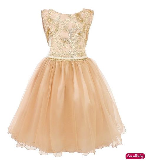 Vestido Infantil Juvenil Formatura Daminha Realeza Dourado