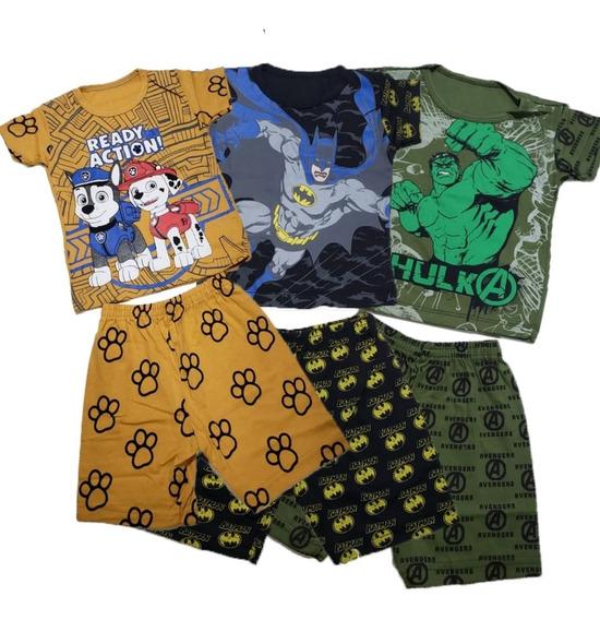 Roupa Infantil Barata 7 Conjunto Pijamas Atacado Personagens Novidade