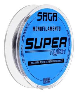 Linha Monofilamento Saga Super Nylon 300m Cinza 033 037 040