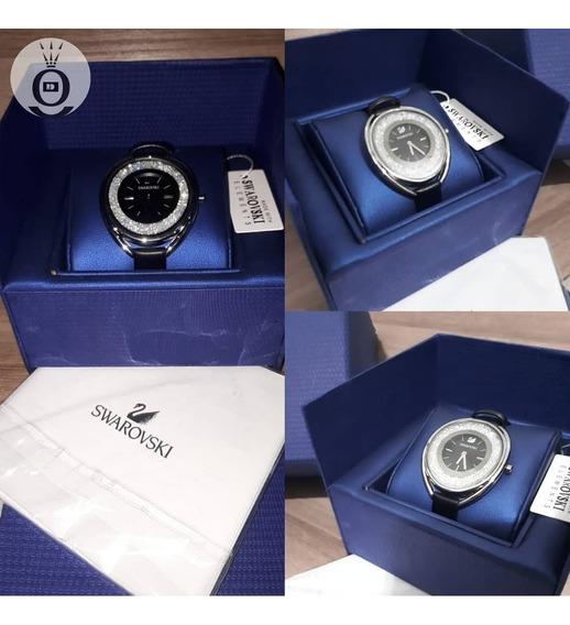 Relógio Swarovski Crystalline Oval Preto Couro!!