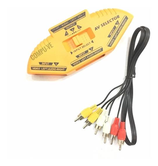 Selector Switch Rca Av Con Audio 3 Rca + 1x Cable Av Llave Selectora De Rca Con Audio 3 A 1