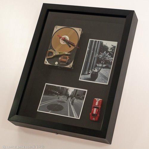 Relógio De Parede Porta Retratos Moldura Preta Reciclagem Hd