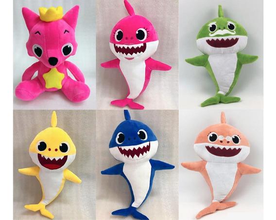 Kit 6 Pelúcias Bebê Tubarão (baby Shark) Musicais Led