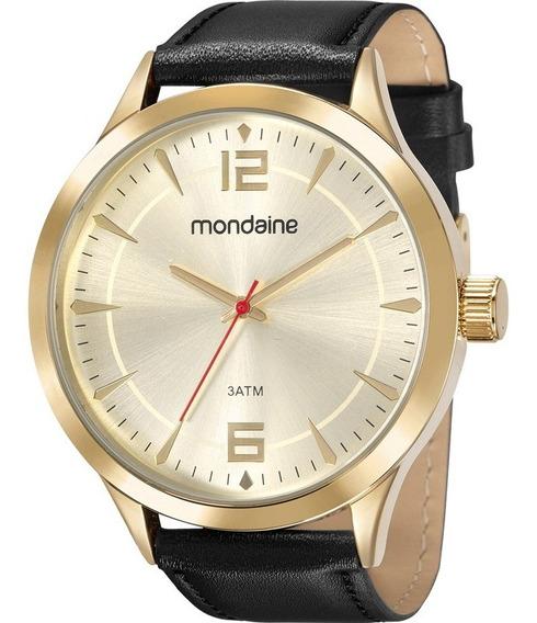 Relógio Mondaine Masculino 83441gpmvdh3 Couro Dourado
