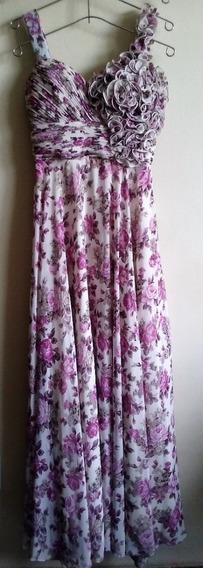 Vestido Floral Longo, Veste Tamanhos 38 E 40, Usado 4 Vezes.