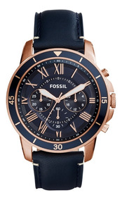 Reloj Caballero Fossil Fs5237 Color Azul De Piel