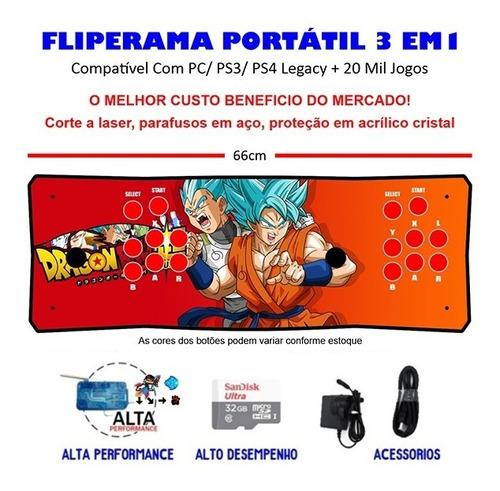 Imagem 1 de 3 de Fliperama Portátil Slim 3 Em 1 - Vegeta E Goku