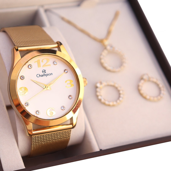 Relógio Champion Feminino Cn29409d + Colar E Brincos