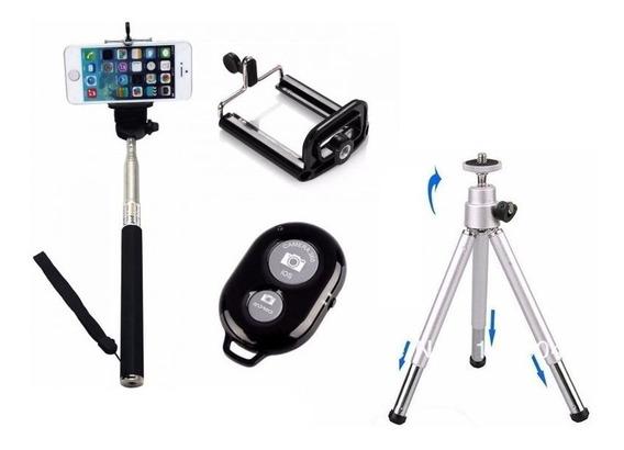 Super Kit Pau De Selfie + Tripé + 3 Câmeras + Bluetooth