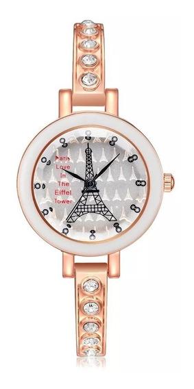 Reloj Pulsera Para Dama Moda París Torre Eiffel Con Dije
