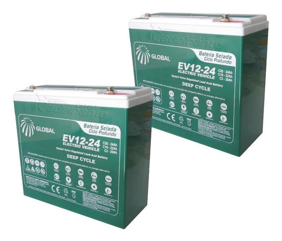 Kit 2 Bateria Cadeira De Rodas Motorizada Ortobras 12v 24ah