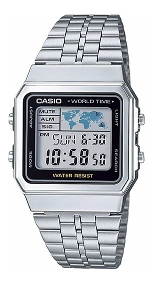 Relógio Vintage Digital Casio A500wa-1df Unissex Mapa Múndi