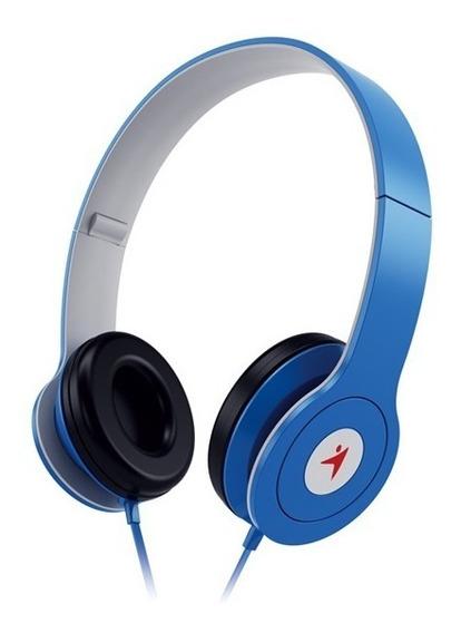 Headphone Dobrável Com Microfone Controle De Volume Azul