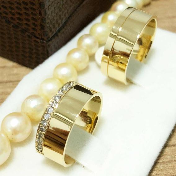 Alianças Em Ouro 18k E Diamantes