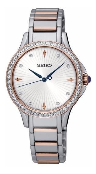Reloj Seiko Srz486 Diamantes Swarovski 30m Quartz Para Dama
