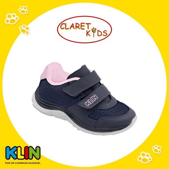 Klin Tênis Infantil Meninas Azul Marinho Com Velcro 22 Ao 27