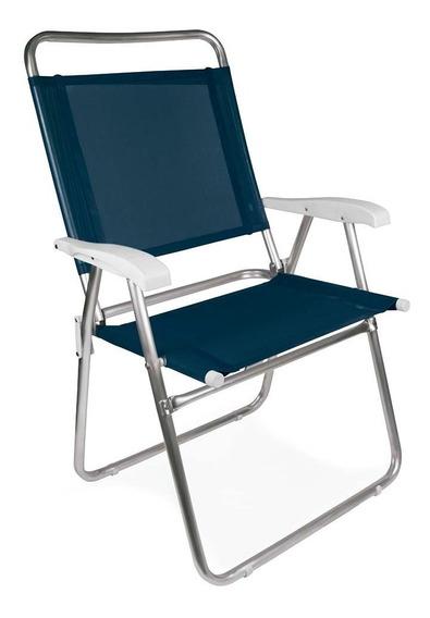 Cadeira De Praia Alumínio Master Plus Azul Mor Encosto Alto