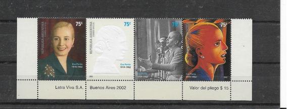 Estampillas 2002 Eva Perón Tira De 4 Relieve. Gj 3220/3