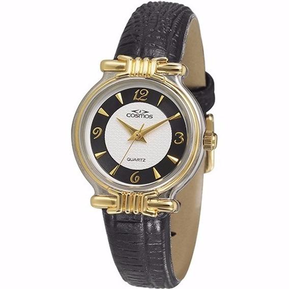 Relógio De Pulso Feminino Clássico Dourado Social Os28714p