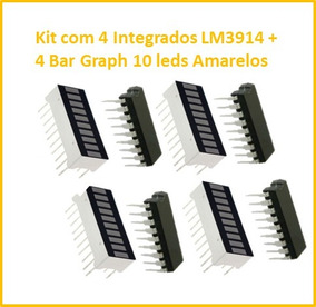 Kit Com 4 Integrados Lm3914 + 4 Bar Graph Cor Amarela