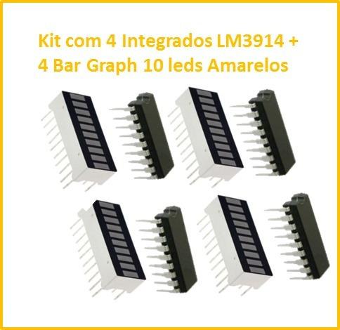 Kit Com 4 Integrados Lm3914 + 4 Bar Graph Cor Amarela