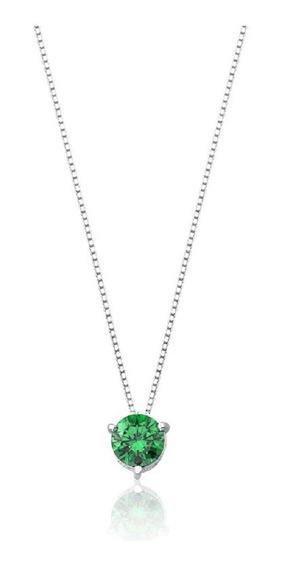 Colar De Prata Ponto De Luz 7mm Verde Esmeralda Prata Rara