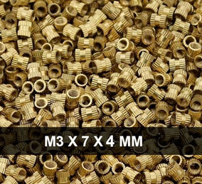 Inserto Metálico De Latão M3x7x4mm / 100 Unidades Pj